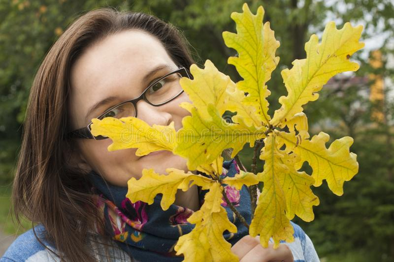 Woman is very happy of autumn nature. royalty free stock photo