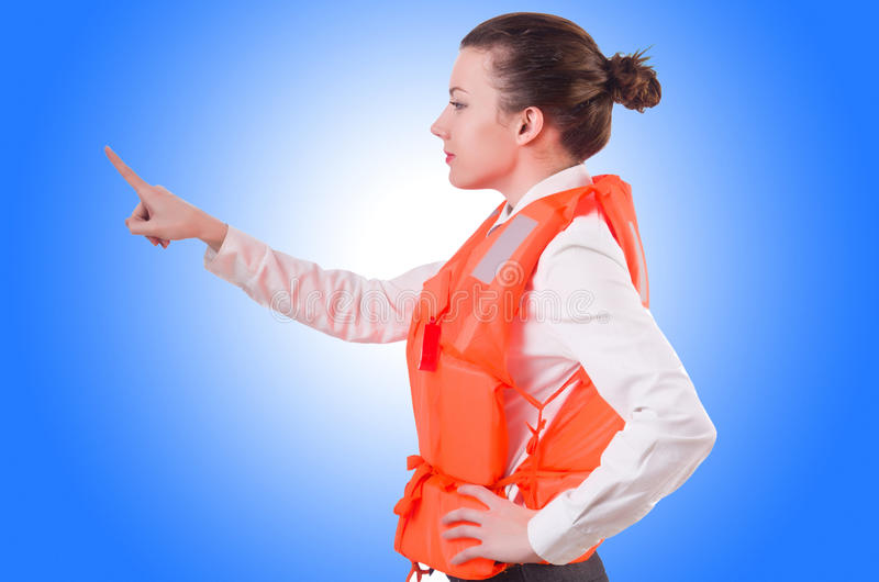 Woman in vest pressing. Virtual buttons stock photography