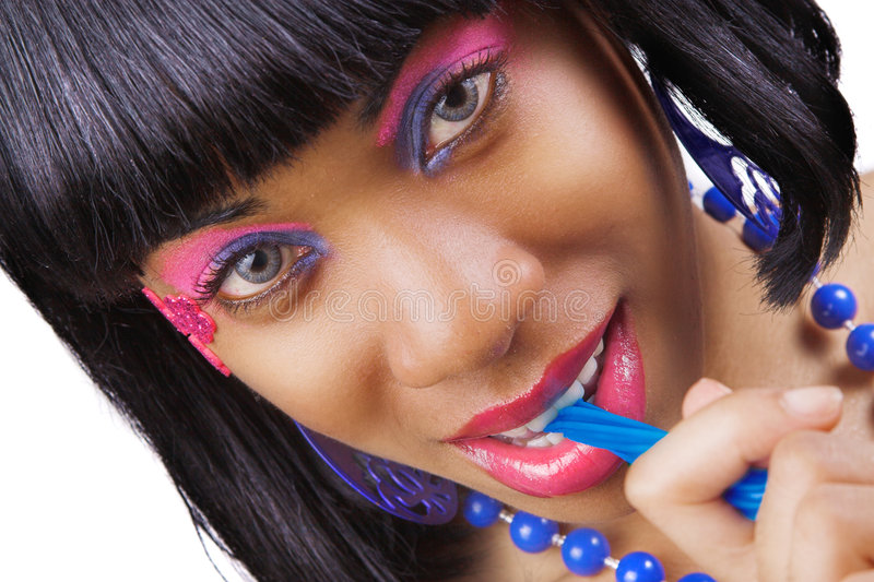 Woman with vibrant make-up royalty free stock image