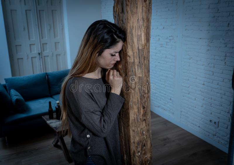 Woman victim of domestic violence and abuse feeling alone and depressed. Social issues Domestic violence concept. Woman victim of spouse intimate abuse and royalty free stock photos