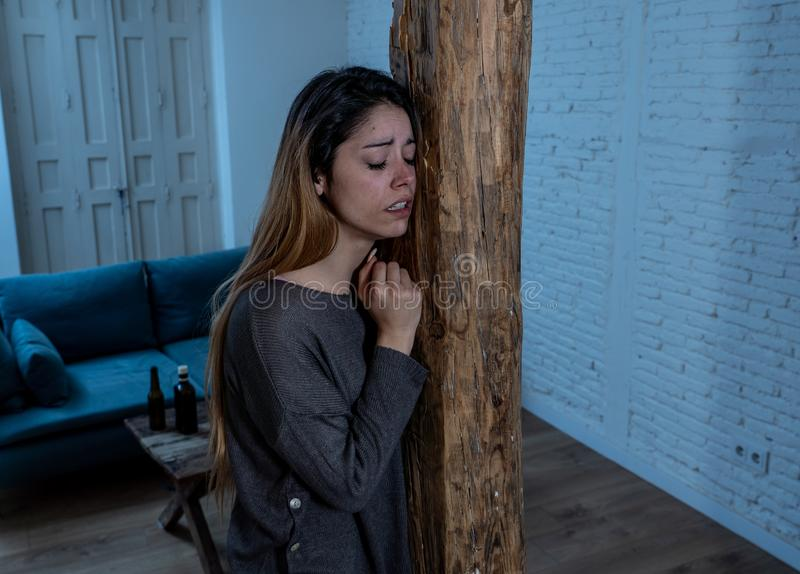 Woman victim of domestic violence and abuse feeling alone and depressed. Social issues Domestic violence concept. Woman victim of spouse intimate abuse and stock image