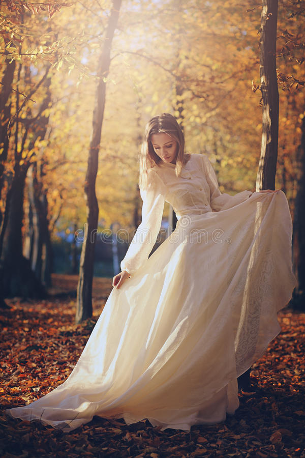 Woman with victorian dress in autumn woods stock image