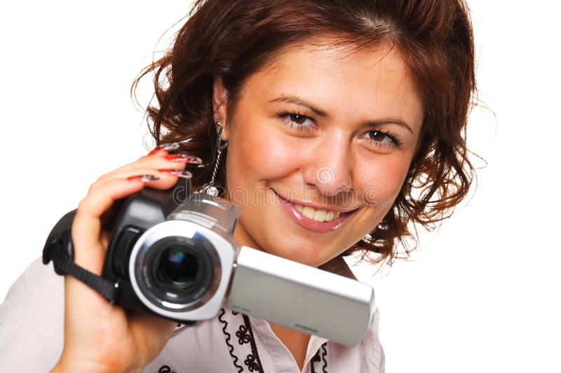 Download Woman with a video camera stock photo. Image of video - 10836028