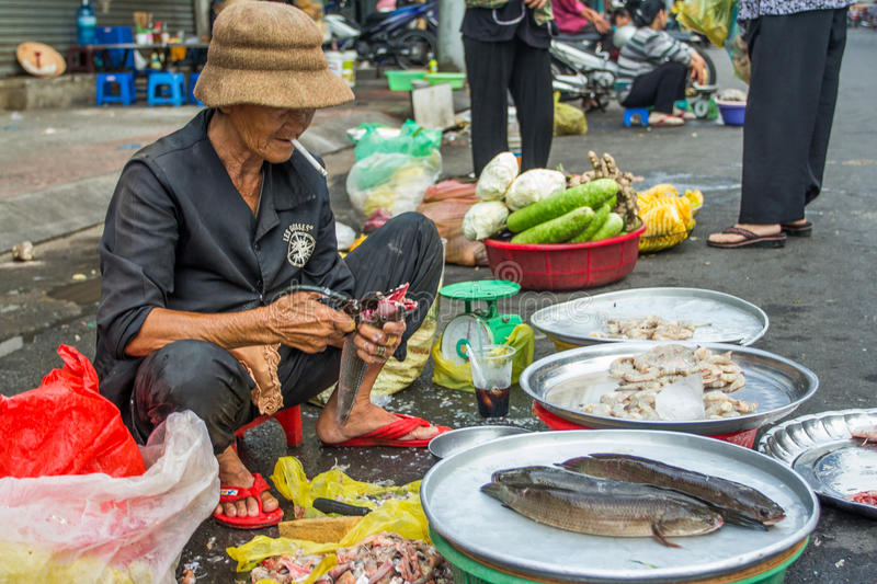 The woman in the Vietnam Market stock image