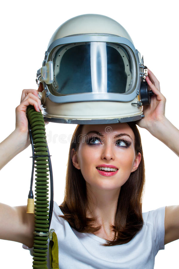 Woman With Vintage Astronaut Helmet Stock Photo - Image ...