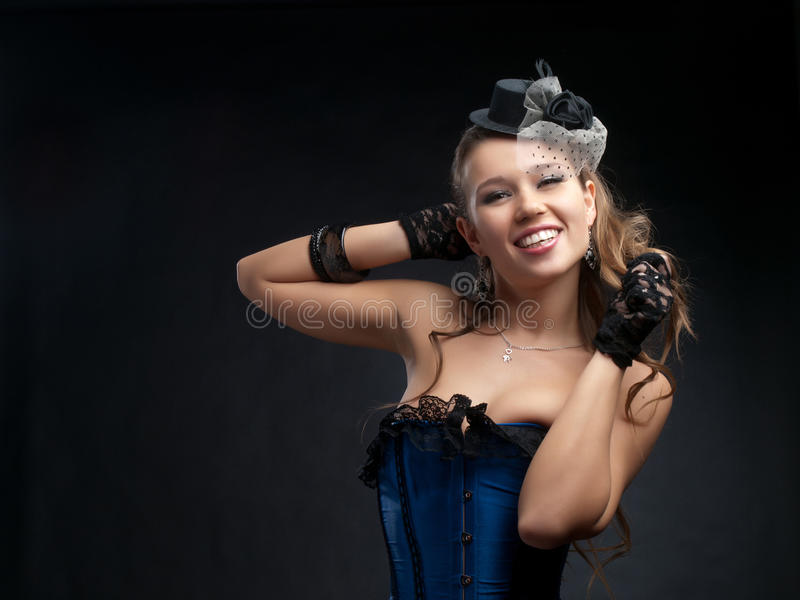 Woman in vintage dance clothes stock images