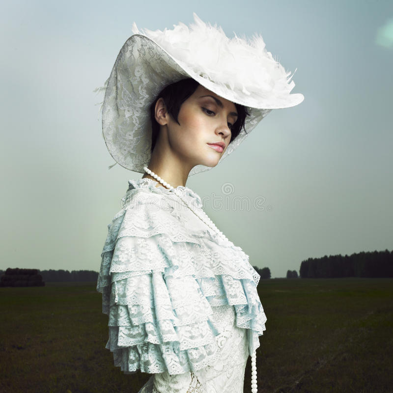 Woman in vintage dress stock images