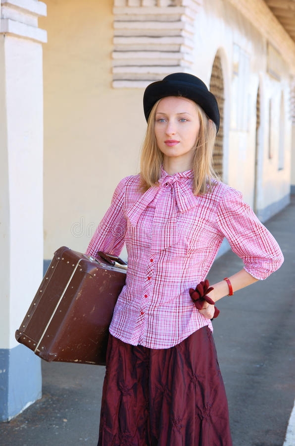 Download Woman In Vintage Dress With Suitcase Stock Images - Image: 14982184
