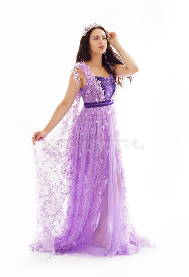 Woman in violet dress royalty free stock images