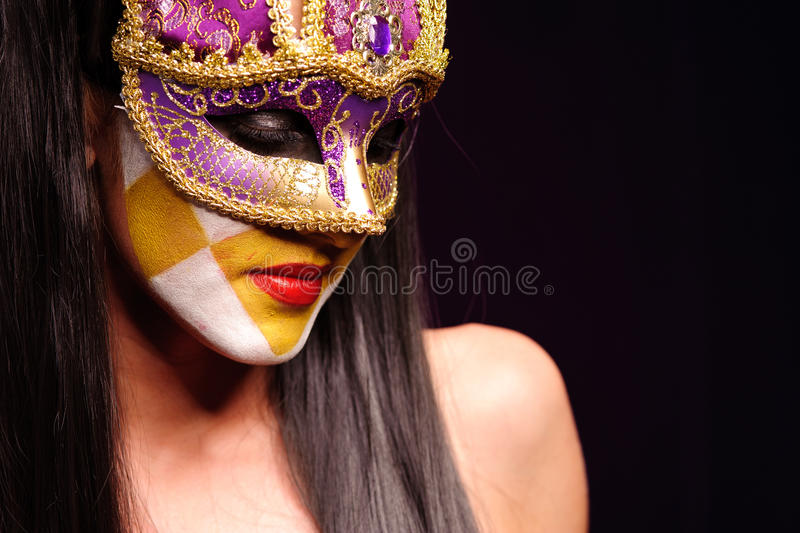 Download Woman in violet mask stock image. Image of makeup, camouflage - 17951167
