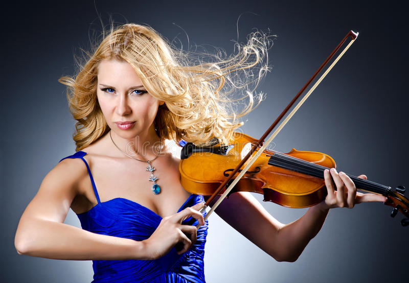 Woman With Violin Stock Image