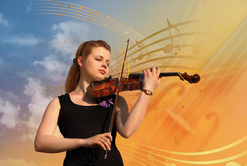 Woman with violin collage stock photos