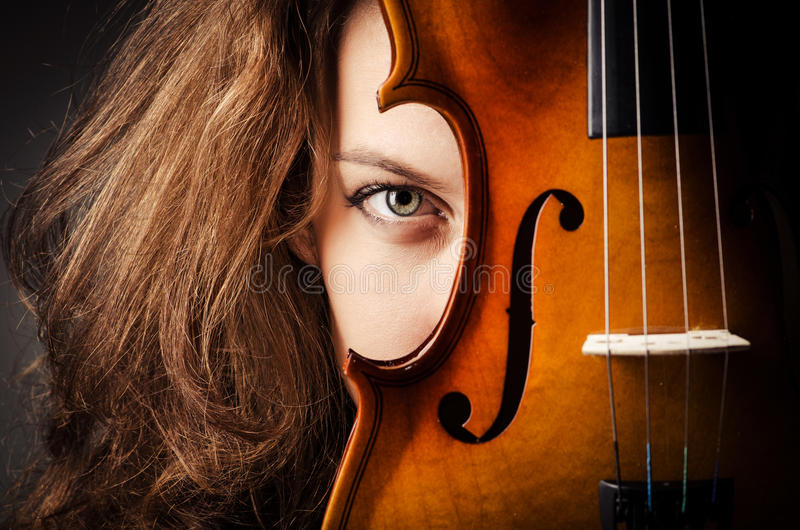Download Woman with violin in dark stock image. Image of fiddlestick - 27172259