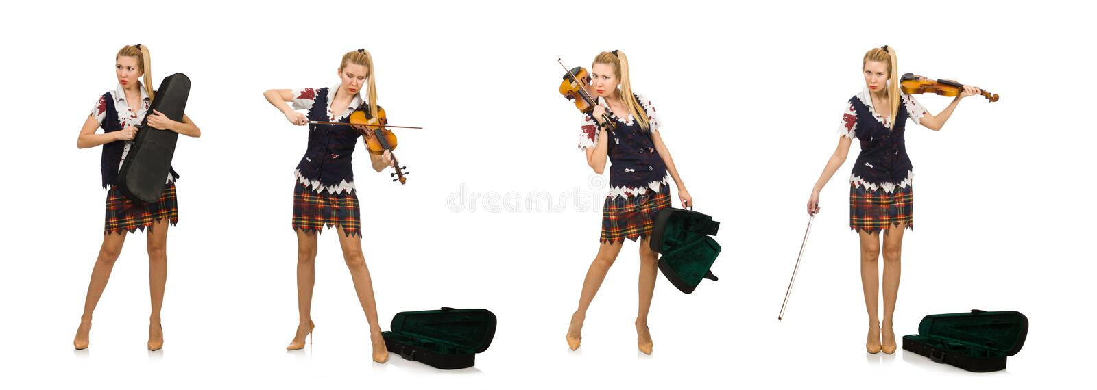 Woman violin player isolated on white royalty free stock photo