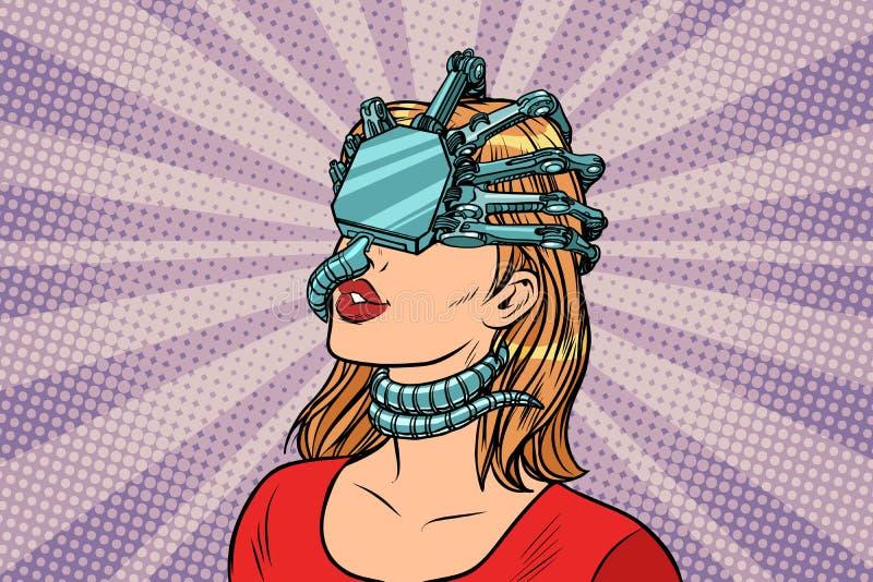 Woman in a virtual reality, dangerous parasite helmet vector illustration