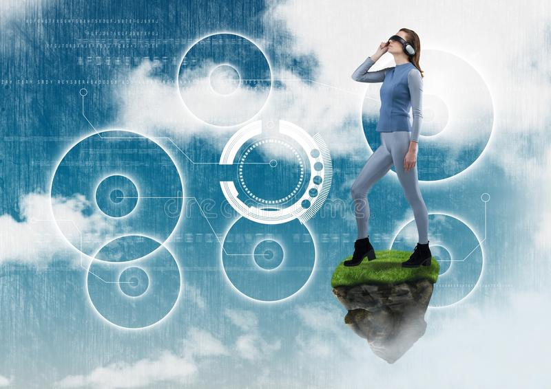 Woman with Virtual reality headset standing on floating rock platform with interfaces in sky vector illustration