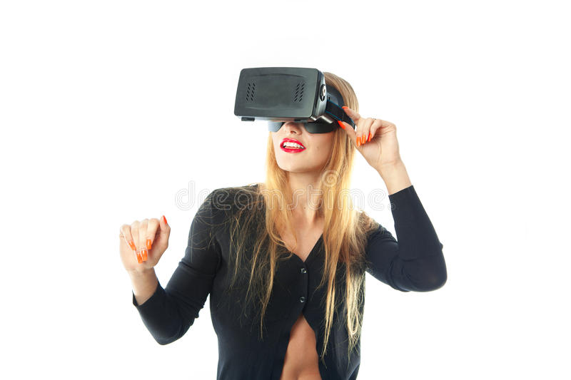 Woman in virtual reality helmet royalty free stock image