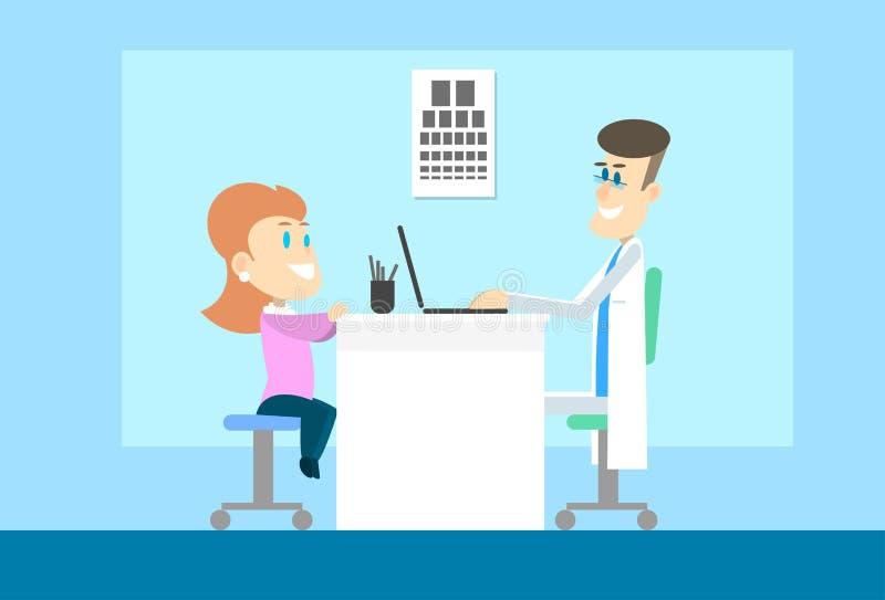 Woman Visit Oculist Ophthalmologist Doctor Office Hospital Checkup. Vector Illustration royalty free illustration