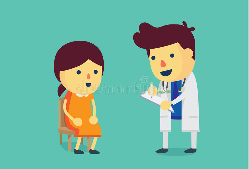 Woman visiting the doctor for health check. vector illustration