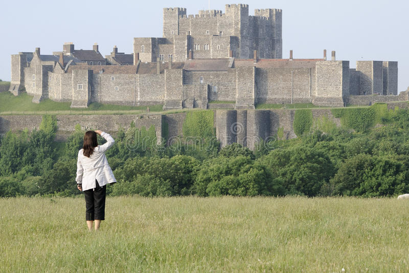 Woman visiting dover castle royalty free stock images