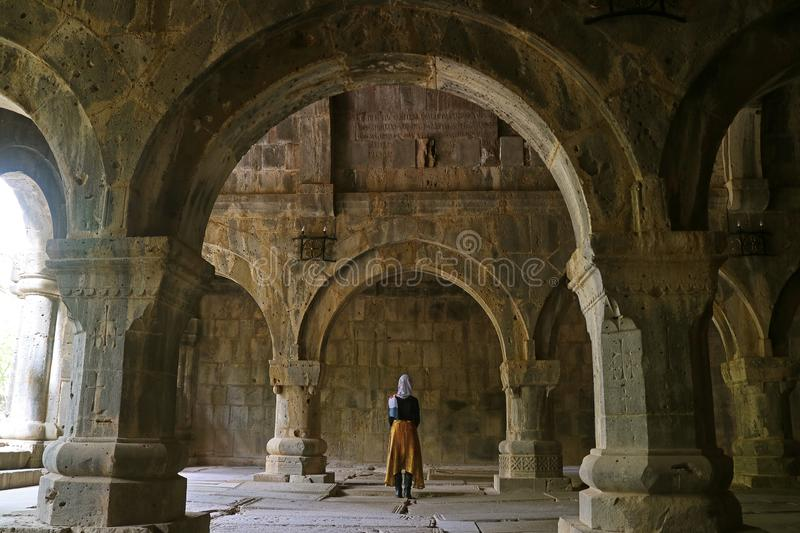 Woman Visiting the Medieval Sanahin Monastery Complex in Lori Province, the Northern Province of Armenia. Woman Visiting the Medieval Sanahin Monastery Complex stock photography