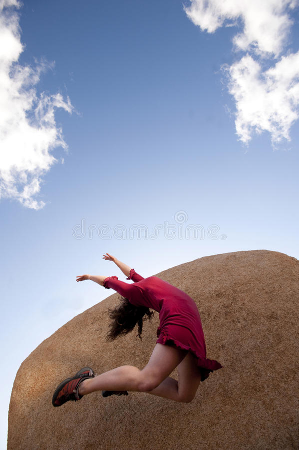 Vitality Woman Jumping  royalty free stock photography