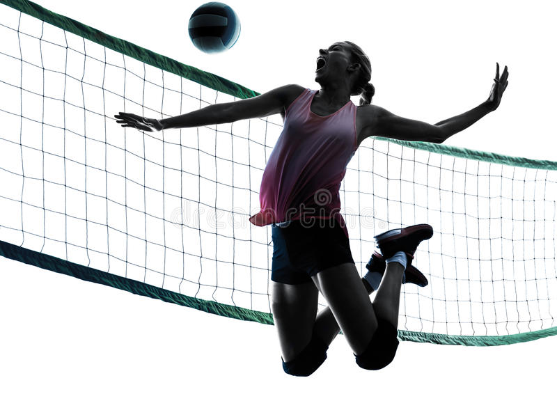 Woman volleyball players isolated silhouette. One caucasian woman volleyball in studio silhouette isolated on white background stock images
