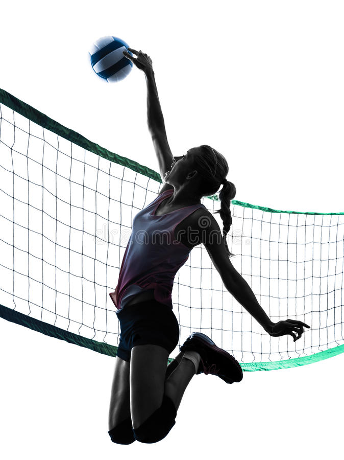 Woman volleyball players isolated silhouette. One caucasian woman volleyball in studio silhouette isolated on white background royalty free stock photo