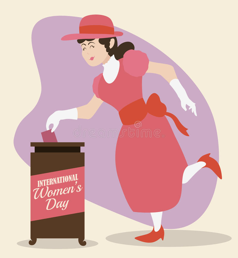Woman Voting and Commemorating Women's Day in Retro Design, Vector Illustration stock photos