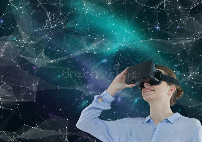 Woman in VR headset looking up against green and purple space background with interface royalty free illustration