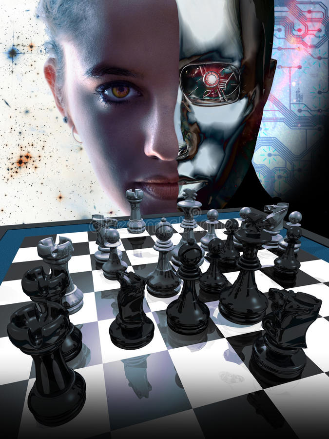 Woman vs robot. Half face of a robot and half face of a cute pretty woman ready to play a chess competition