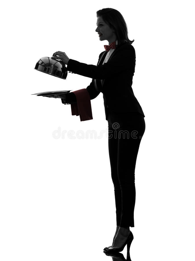 Download Woman Waiter Butler Opening Catering Dome Silhouette Royalty Free Stock Image - Image: 31947066