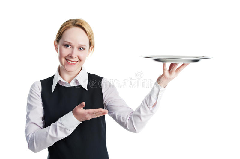 Woman waiter with metal cloche lid cover royalty free stock image