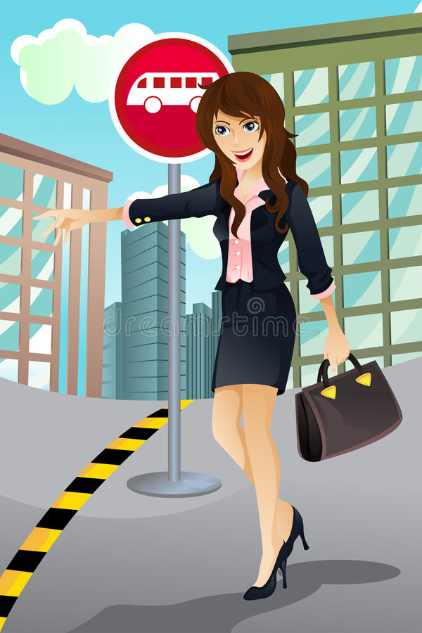 Download Woman waiting for a bus stock vector. Image of woman - 19739601