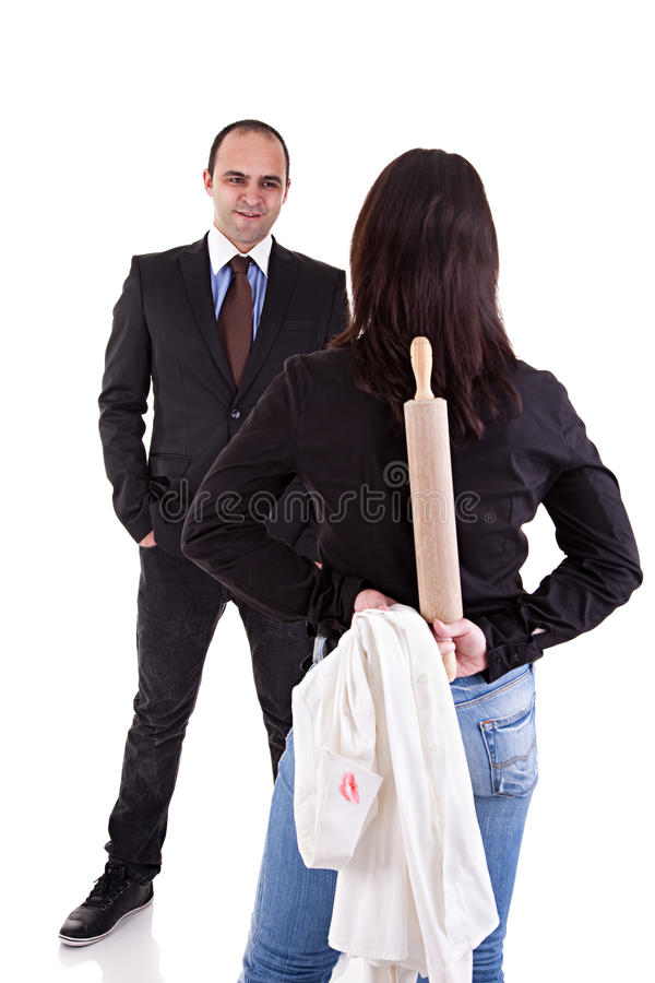 Woman waiting for her husband stock images