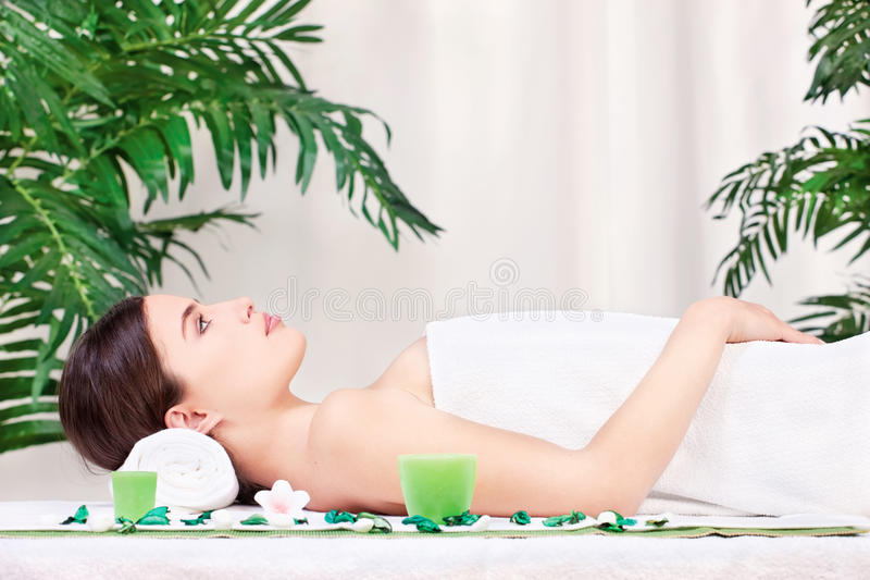 Woman Waiting For Massage In Salon Stock Images
