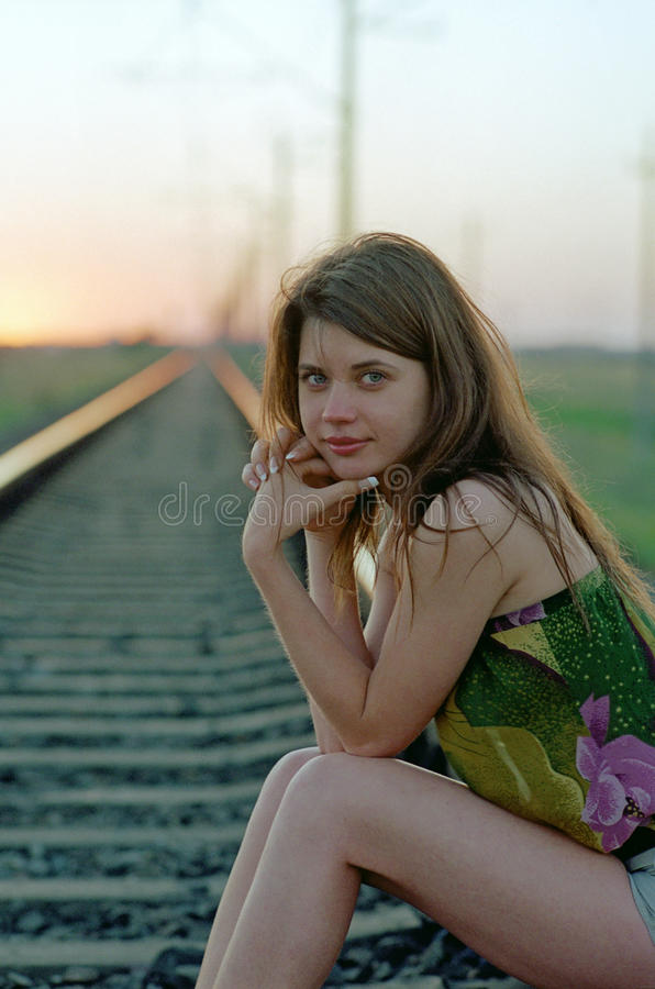 Download Woman waiting on railroad stock photo. Image of girl - 10406274