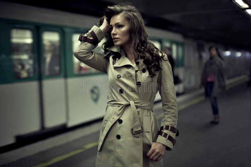 Woman waiting for someone royalty free stock photo