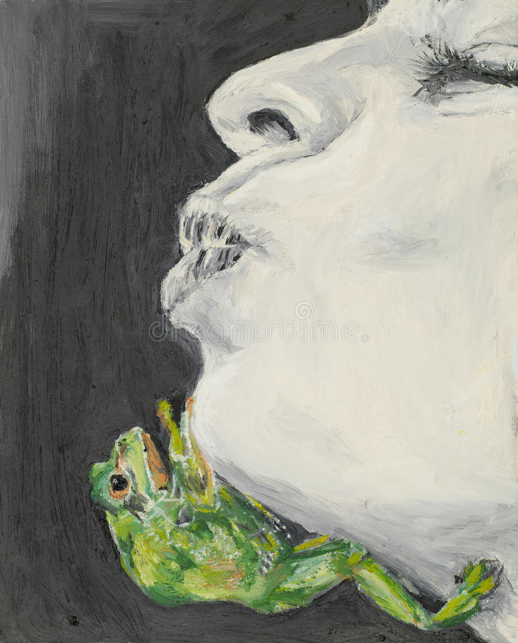 Woman waiting to be kissed by a frog vector illustration