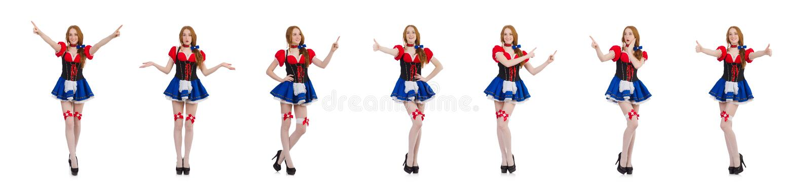 Woman waitress in octoberfest concept royalty free stock images