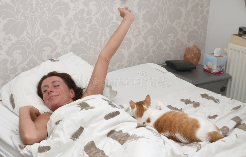Woman wake up stock image