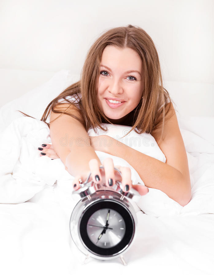 Download Woman wakes up stock photo. Image of morning, cheerful - 18158784