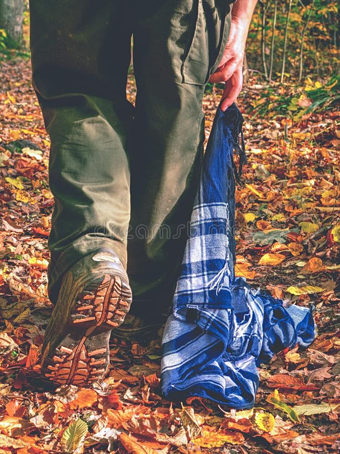 Woman walk and hold colorful scarf lying on dry leaves royalty free stock photo