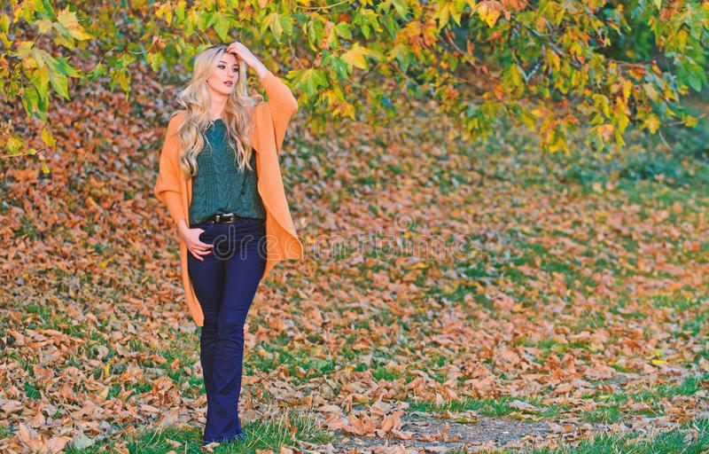 Woman walk sunset light. Cozy casual outfits for late fall. Comfortable outfit. Girl adorable blonde posing in warm and. Cozy outfit autumn nature background stock images