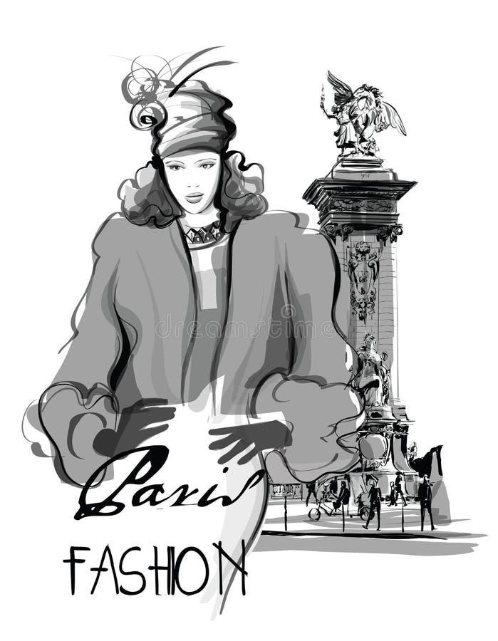Woman walking on Alexandre III Bridge royalty free illustration