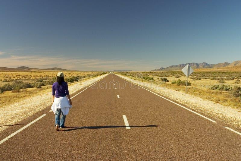 Woman Walking Alone. On Flinders Ranges, Australia stock photos