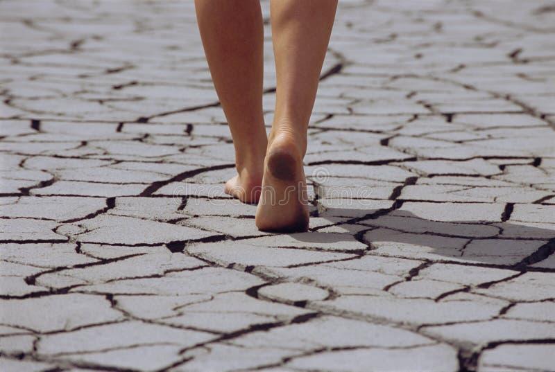 Woman walking barefoot across cracked earth stock photos