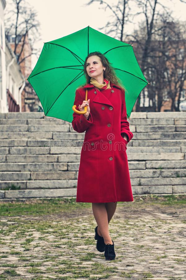 A woman is walking stock images