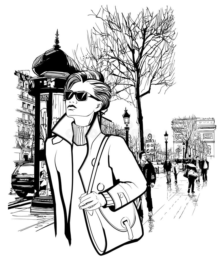 Woman walking in Champs-Elysees avenue in Paris. Vector illustration stock illustration