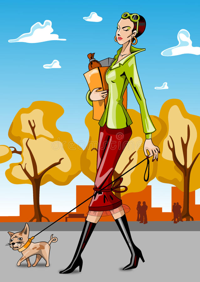 Woman Walking A Dog Stock Photos